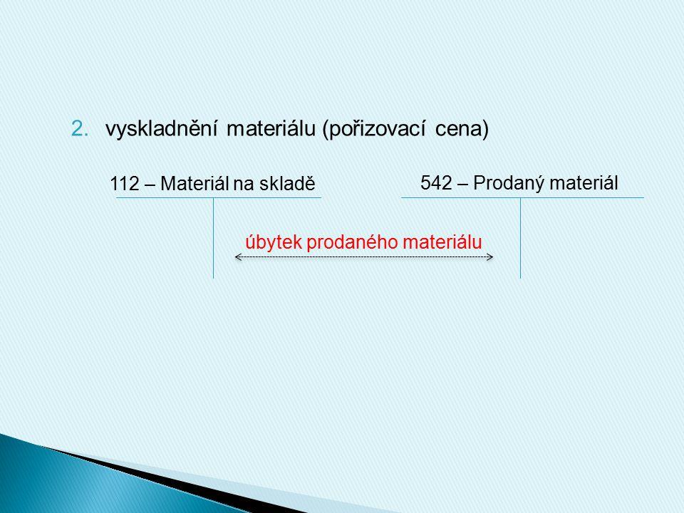 2.vyskladnění materiálu (pořizovací cena) 112 – Materiál na skladě 542 – Prodaný materiál úbytek prodaného materiálu