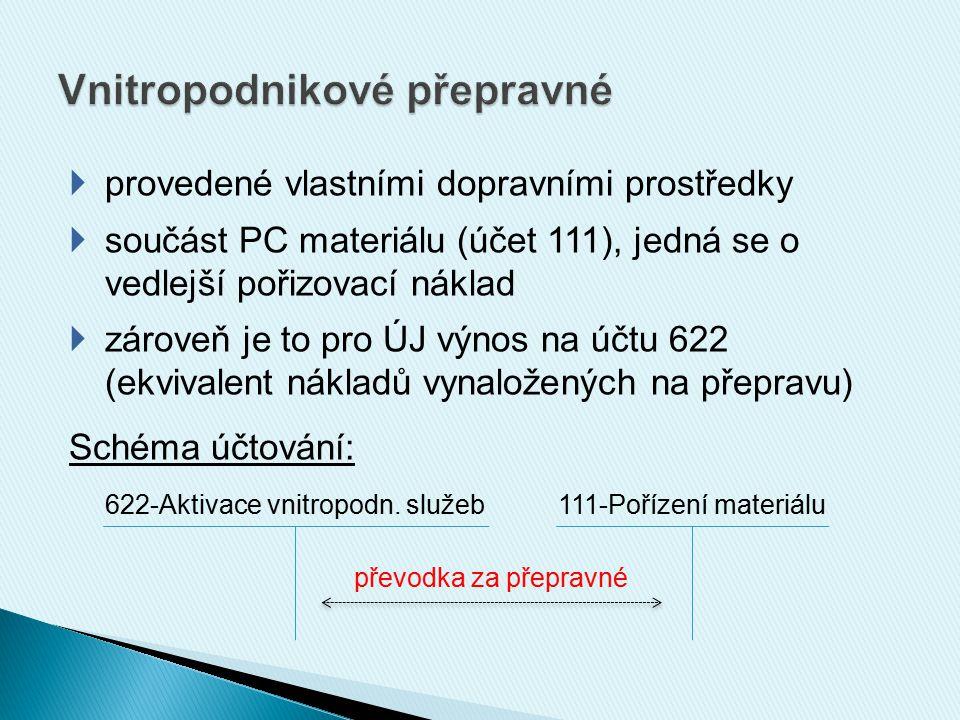  provedené vlastními dopravními prostředky  součást PC materiálu (účet 111), jedná se o vedlejší pořizovací náklad  zároveň je to pro ÚJ výnos na ú