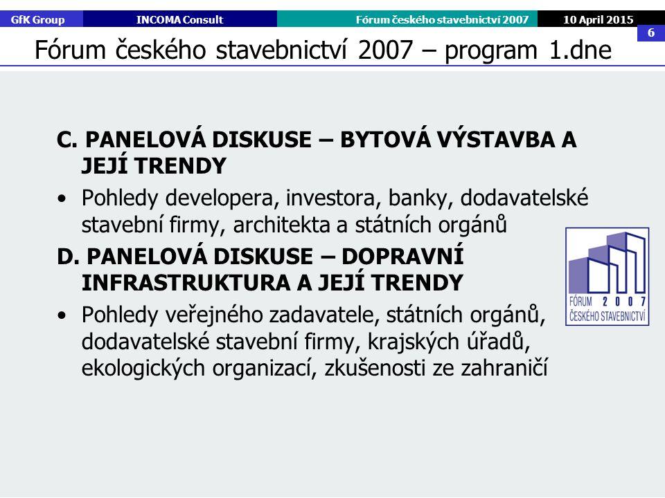 GfK GroupINCOMA ConsultFórum českého stavebnictví 2007 10 April 2015 6 C. PANELOVÁ DISKUSE – BYTOVÁ VÝSTAVBA A JEJÍ TRENDY Pohledy developera, investo