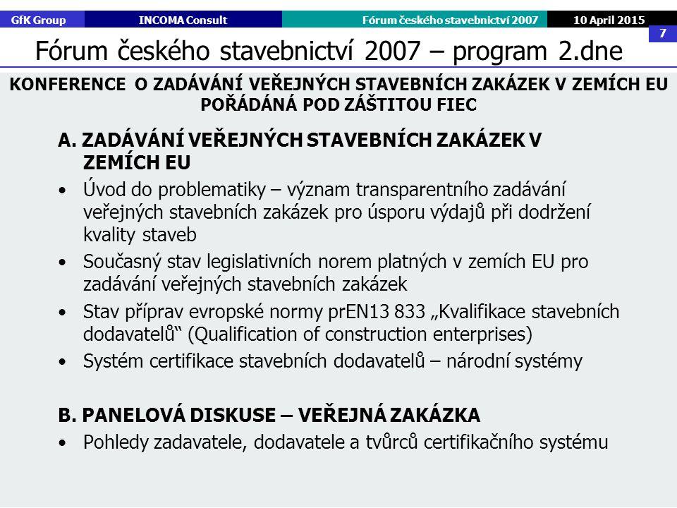 GfK GroupINCOMA ConsultFórum českého stavebnictví 2007 10 April 2015 7 A. ZADÁVÁNÍ VEŘEJNÝCH STAVEBNÍCH ZAKÁZEK V ZEMÍCH EU Úvod do problematiky – výz