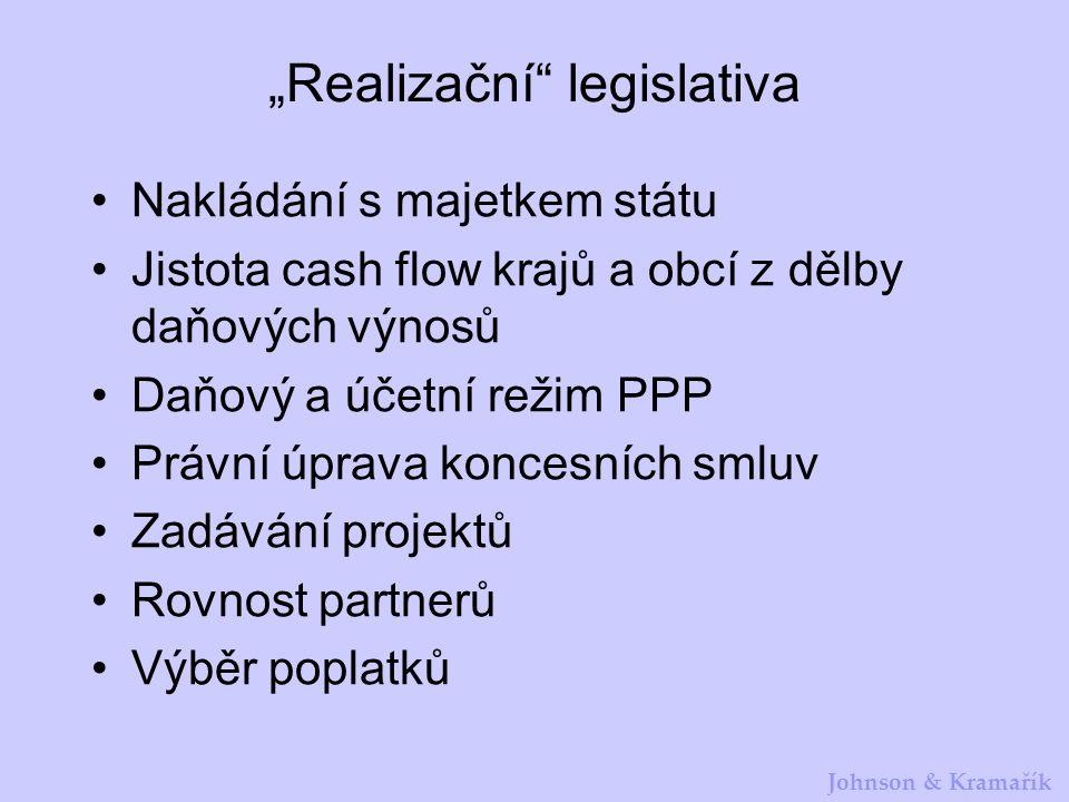 """Johnson & Kramařík """"Realizační"""" legislativa Nakládání s majetkem státu Jistota cash flow krajů a obcí z dělby daňových výnosů Daňový a účetní režim PP"""