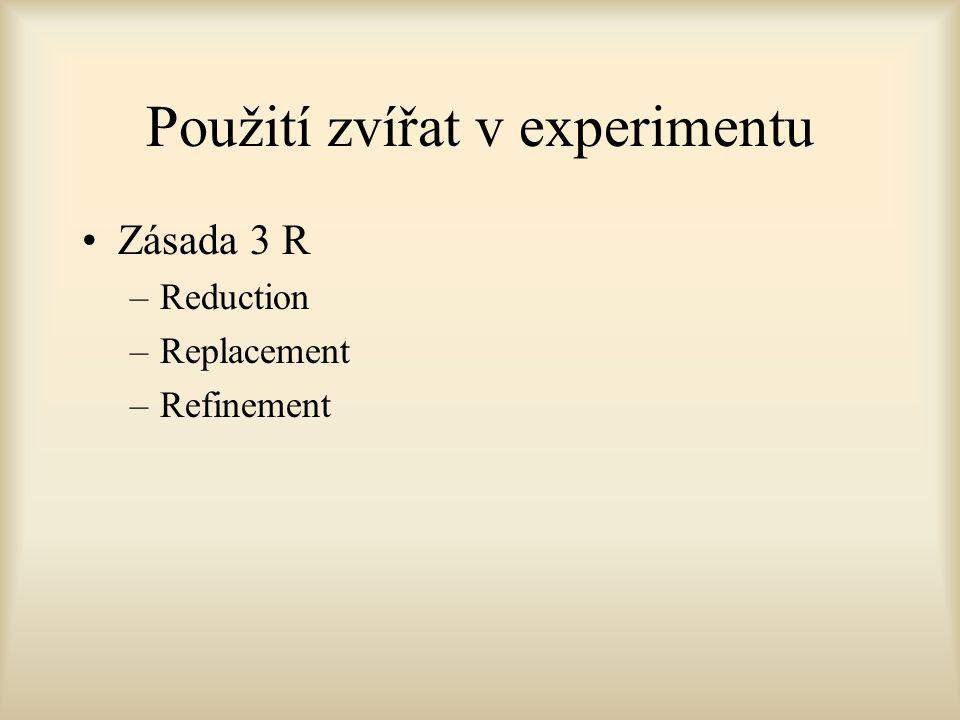 Použití zvířat v experimentu Zásada 3 R –Reduction –Replacement –Refinement