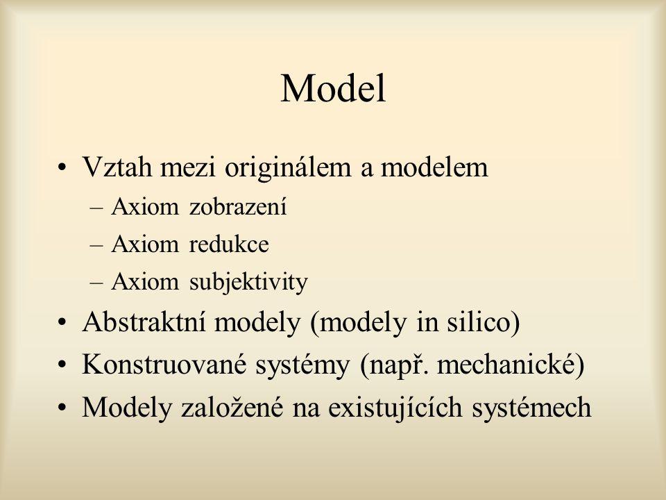 Model Vztah mezi originálem a modelem –Axiom zobrazení –Axiom redukce –Axiom subjektivity Abstraktní modely (modely in silico) Konstruované systémy (např.