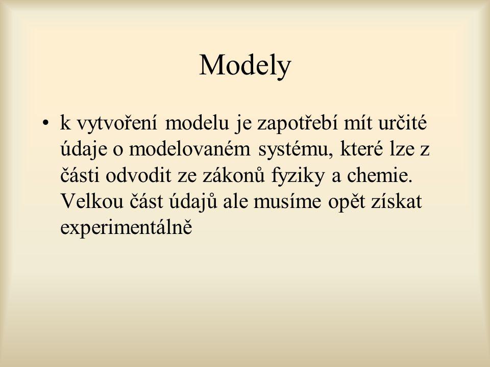 Modely k vytvoření modelu je zapotřebí mít určité údaje o modelovaném systému, které lze z části odvodit ze zákonů fyziky a chemie.