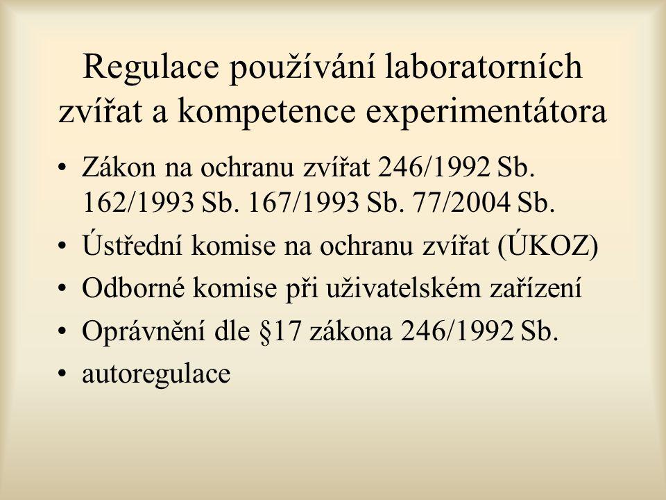 Regulace používání laboratorních zvířat a kompetence experimentátora Zákon na ochranu zvířat 246/1992 Sb.