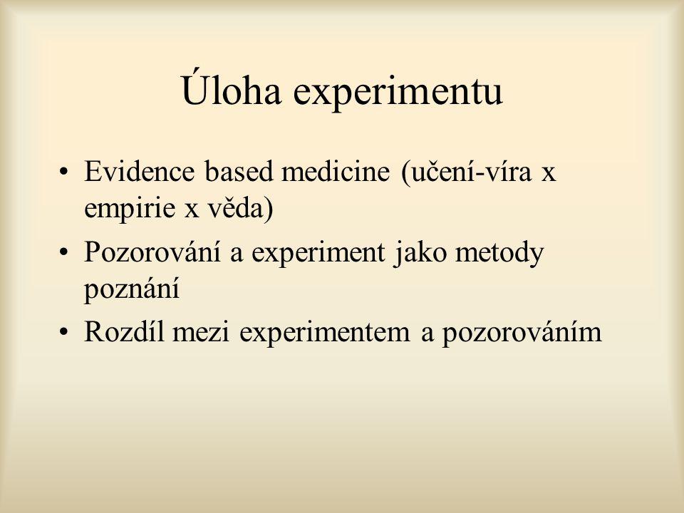 Úloha experimentu Evidence based medicine (učení-víra x empirie x věda) Pozorování a experiment jako metody poznání Rozdíl mezi experimentem a pozorováním