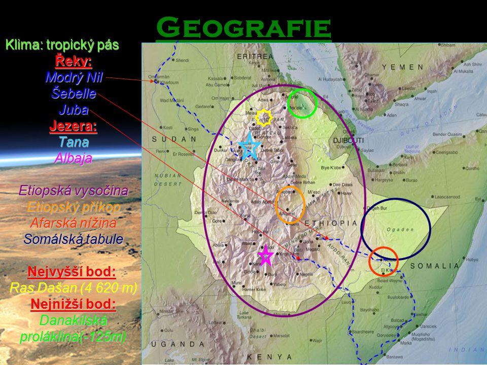 Geografie Klima: tropický pás Řeky: Modrý Nil Šebelle Juba Jezera: Tana Albaja Etiopská vysočina Etiopský příkop Afarská nížina Somálská tabule Nejvyš