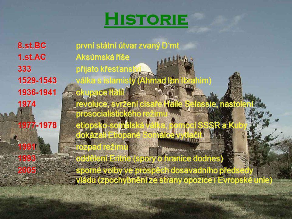 Historie 8.st.BC první státní útvar zvaný D'mt 1.st.AC Aksúmská říše 333 přijato křesťanství 1529-1543 válka s islamisty (Ahmad Ibn Ibrahim) 1936-1941