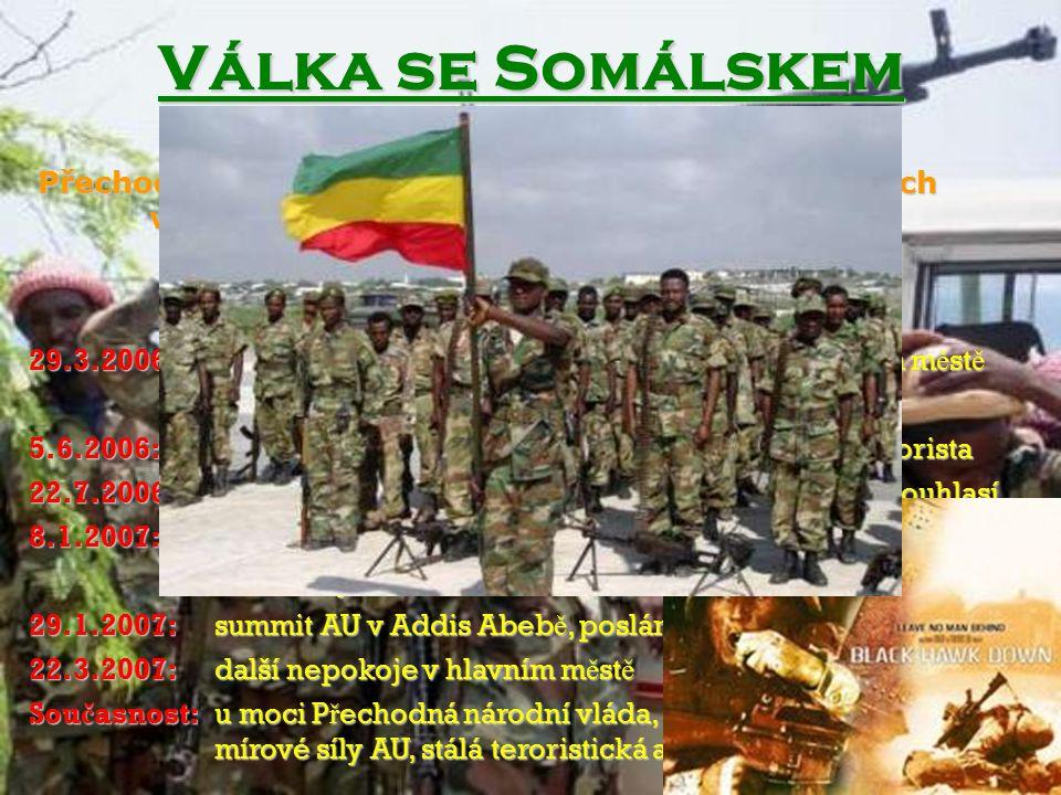 Válka se Somálskem Somálsko Svaz islámských soudů Přechodná národní vláda mnoho nezávislých frakcí 29.3.2006: 5.6.2006: 22.7.2006: 8.1.2007: 29.1.2007