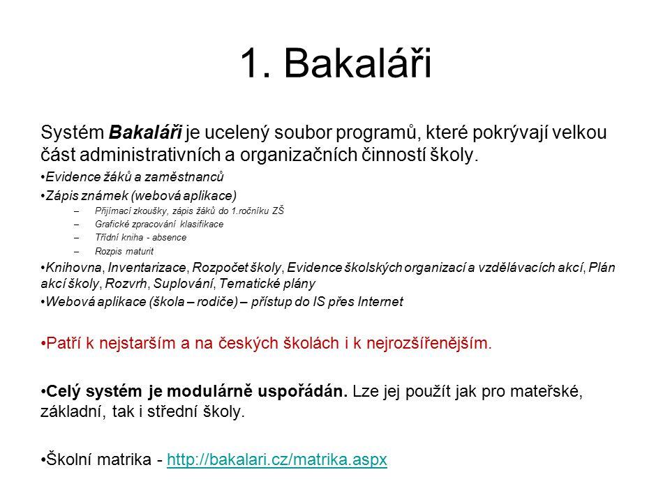 1. Bakaláři Systém Bakaláři je ucelený soubor programů, které pokrývají velkou část administrativních a organizačních činností školy. Evidence žáků a