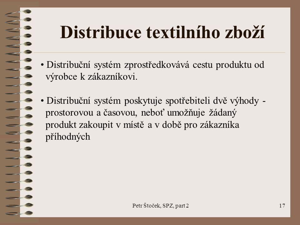 Petr Štoček, SPZ, part 217 Distribuce textilního zboží Distribuční systém zprostředkovává cestu produktu od výrobce k zákazníkovi. Distribuční systém
