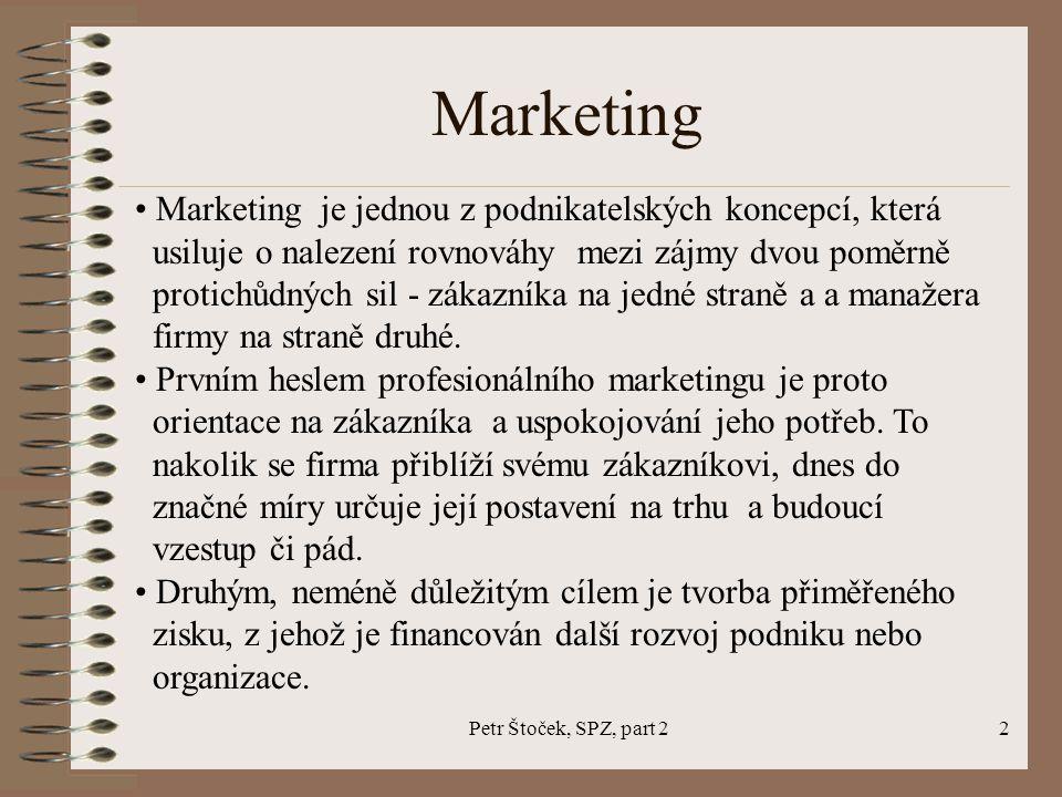 Petr Štoček, SPZ, part 22 Marketing je jednou z podnikatelských koncepcí, která usiluje o nalezení rovnováhy mezi zájmy dvou poměrně protichůdných sil