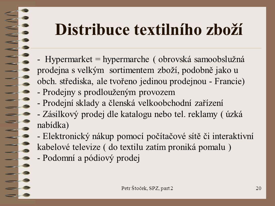 Petr Štoček, SPZ, part 220 Distribuce textilního zboží - Hypermarket = hypermarche ( obrovská samoobslužná prodejna s velkým sortimentem zboží, podobn