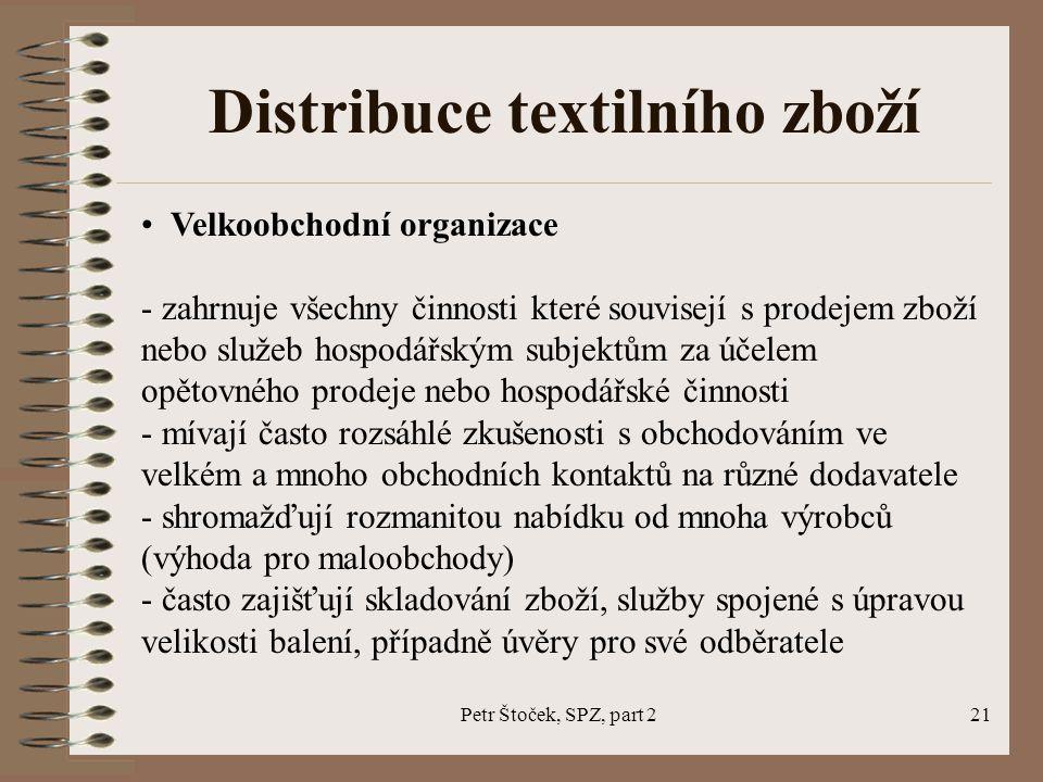 Petr Štoček, SPZ, part 221 Distribuce textilního zboží Velkoobchodní organizace - zahrnuje všechny činnosti které souvisejí s prodejem zboží nebo služ
