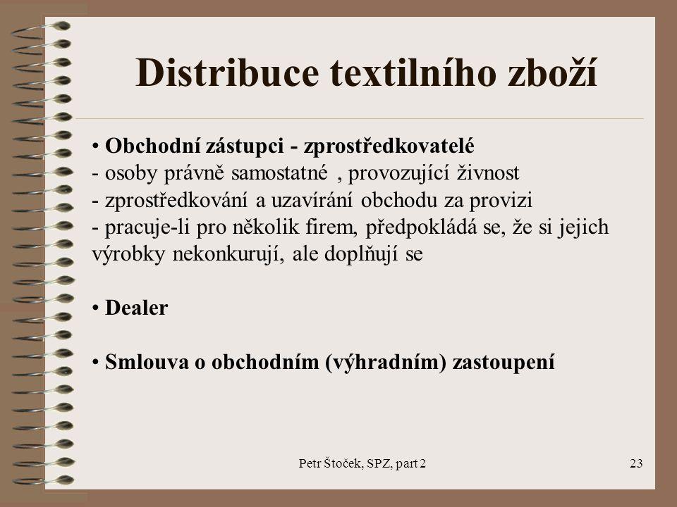 Petr Štoček, SPZ, part 223 Distribuce textilního zboží Obchodní zástupci - zprostředkovatelé - osoby právně samostatné, provozující živnost - zprostře