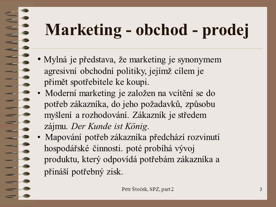 Petr Štoček, SPZ, part 24 Marketing - obchod - prodej Mapování potřeb zákazníka předchází rozvinutí hospodářské činnosti; poté probíhá vývoj produktu, který odpovídá potřebám zákazníka a přináší potřebný zisk.