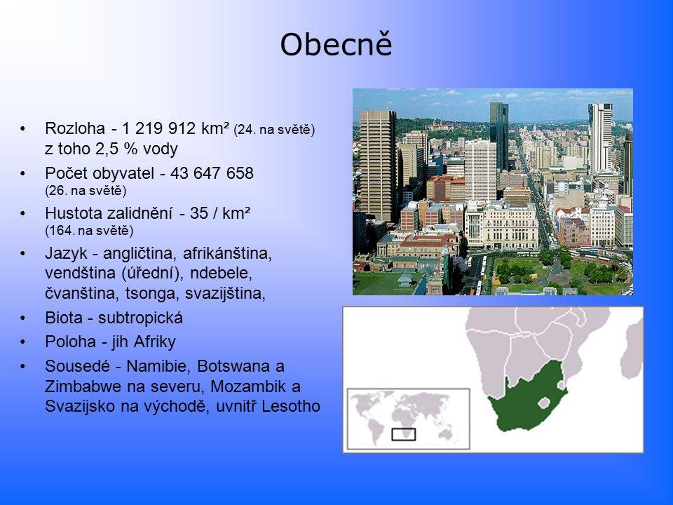 Obecně Rozloha - 1 219 912 km² (24.na světě) z toho 2,5 % vody Počet obyvatel - 43 647 658 (26.