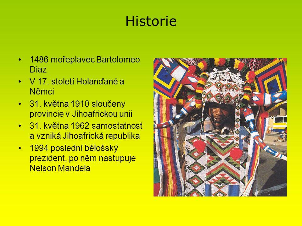 Historie 1486 mořeplavec Bartolomeo Diaz V 17.století Holanďané a Němci 31.