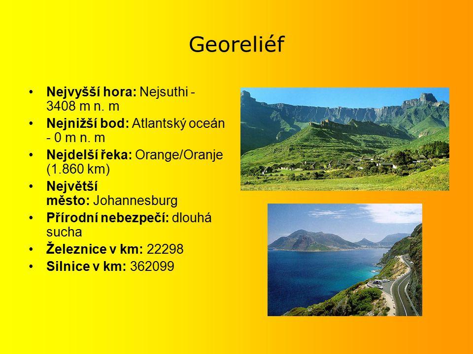 Georeliéf Nejvyšší hora: Nejsuthi - 3408 m n.m Nejnižší bod: Atlantský oceán - 0 m n.