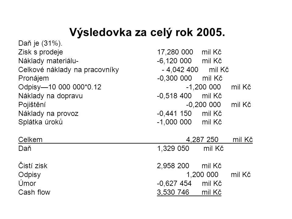 Výsledovka za celý rok 2005. Daň je (31%).