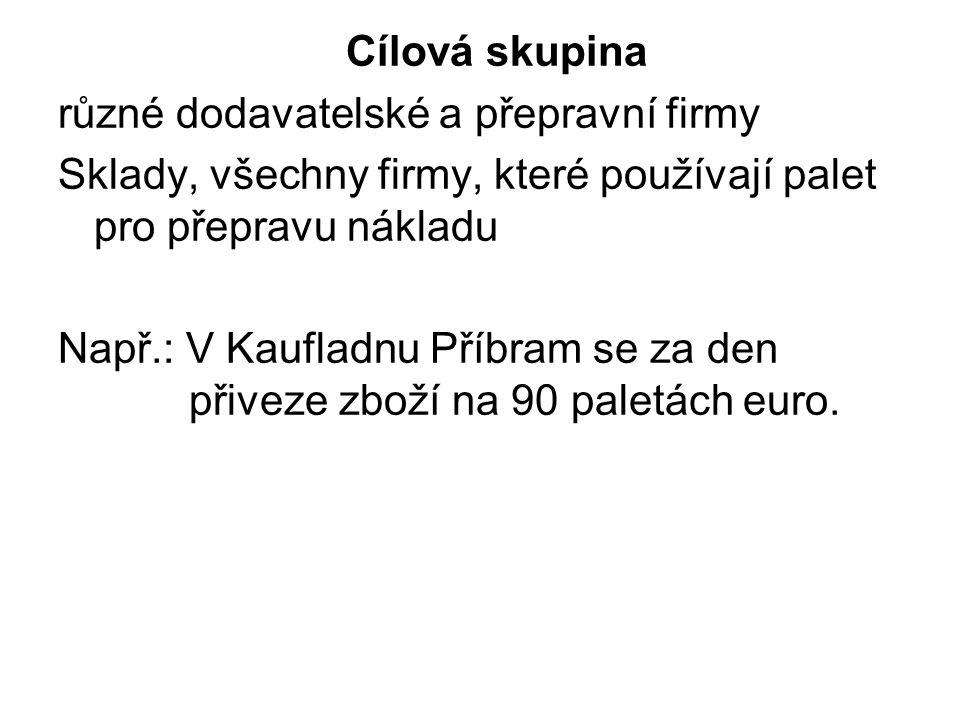 Cílová skupina různé dodavatelské a přepravní firmy Sklady, všechny firmy, které používají palet pro přepravu nákladu Např.: V Kaufladnu Příbram se za den přiveze zboží na 90 paletách euro.