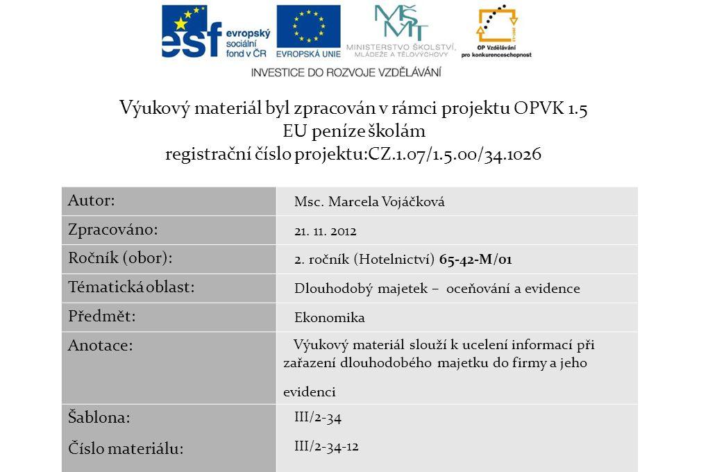 V ýukový materiál byl zpracován v rámci projektu OPVK 1.5 EU peníze školám registrační číslo projektu:CZ.1.07/1.5.00/34.1026 Autor: Msc. Marcela Vojáč