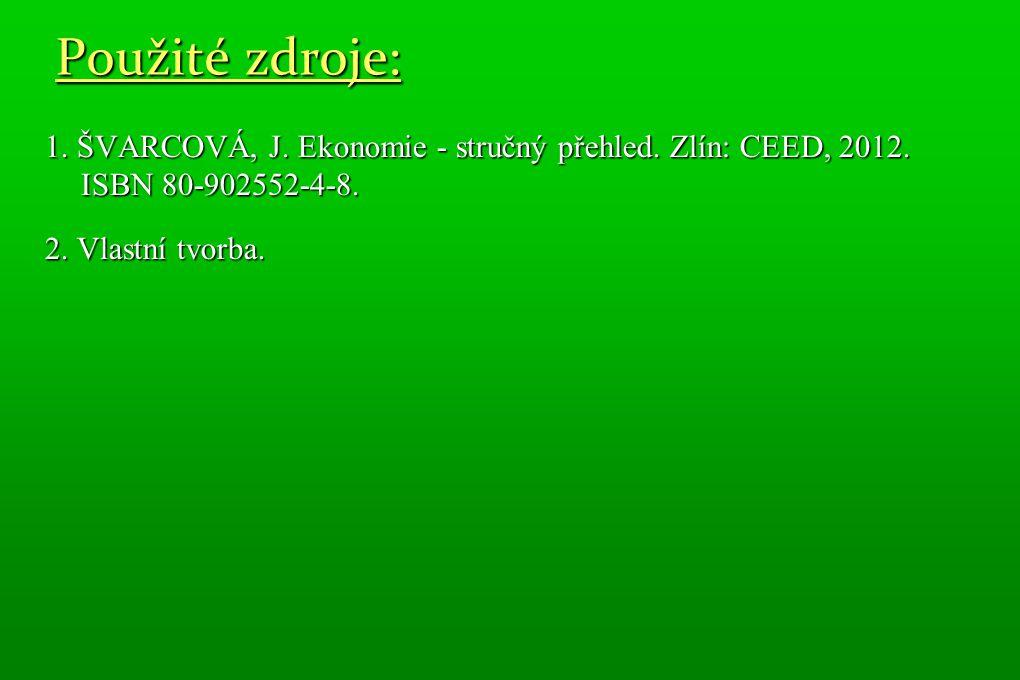 Použité zdroje: 1. ŠVARCOVÁ, J. Ekonomie - stručný přehled. Zlín: CEED, 2012. ISBN 80-902552-4-8. 2. Vlastní tvorba.
