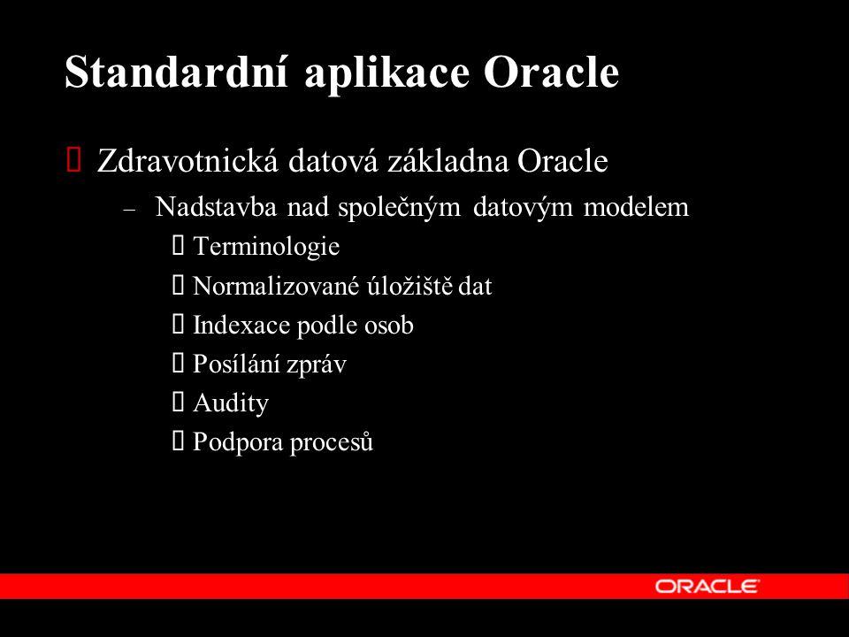 Standardní aplikace Oracle  Zdravotnická datová základna Oracle – Nadstavba nad společným datovým modelem  Terminologie  Normalizované úložiště dat