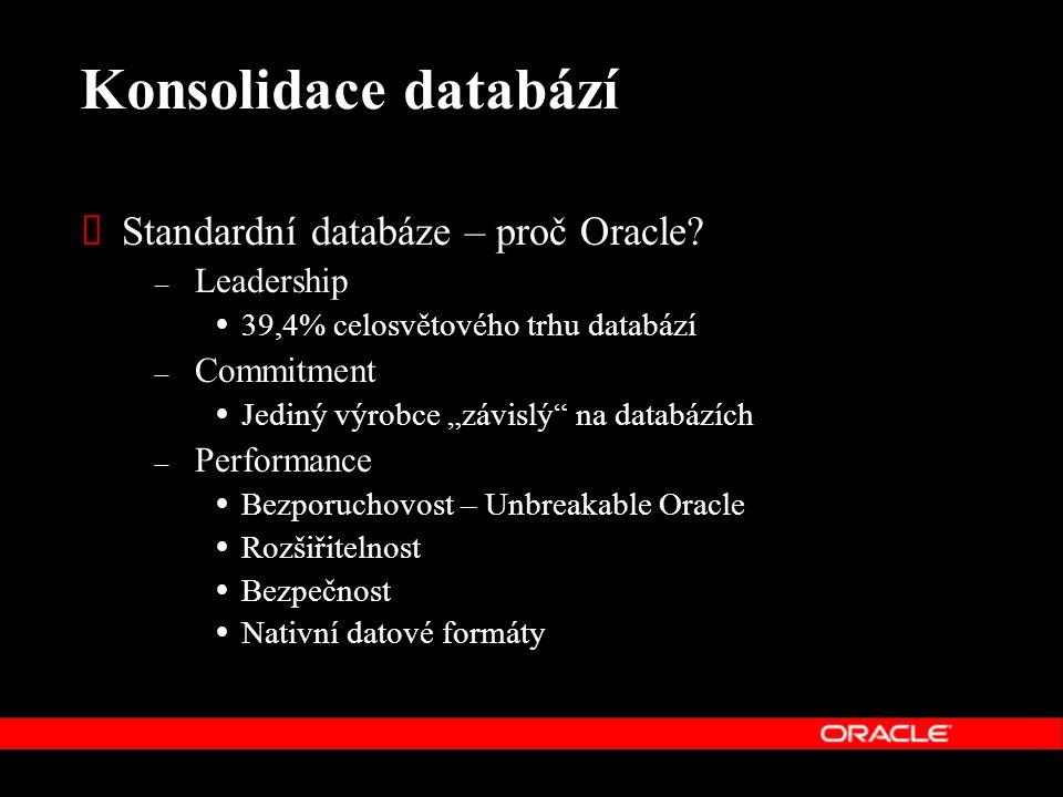 """Konsolidace databází  Standardní databáze – proč Oracle? – Leadership  39,4% celosvětového trhu databází – Commitment  Jediný výrobce """"závislý"""" na"""