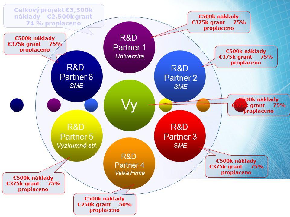 R&D Partner 1 Univerzita R&D Partner 2 SME R&D Partner 3 SME R&D Partner 4 Velká Firma R&D Partner 6 SME R&D Partner 5 Výzkumné stř. Vy Celkový projek