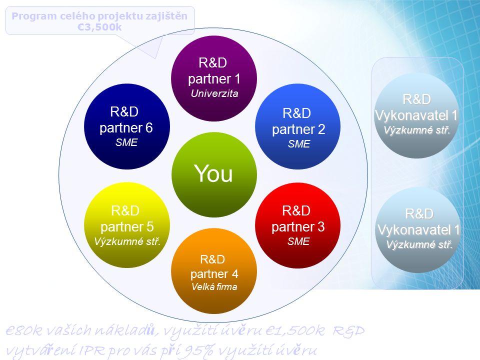 R&D partner 1 Univerzita R&D partner 2 SME R&D partner 3 SME R&D partner 4 Velká firma R&D partner 6 SME R&D partner 5 Výzkumné stř. You Program celéh
