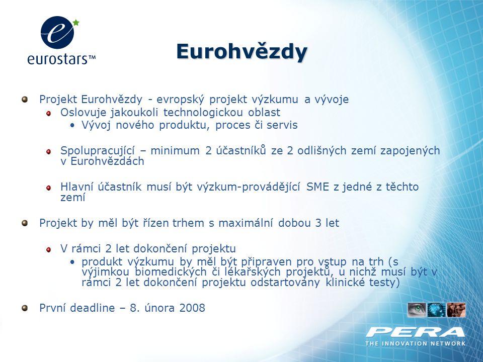 Eurohvězdy Projekt Eurohvězdy - evropský projekt výzkumu a vývoje Oslovuje jakoukoli technologickou oblast Vývoj nového produktu, proces či servis Spo