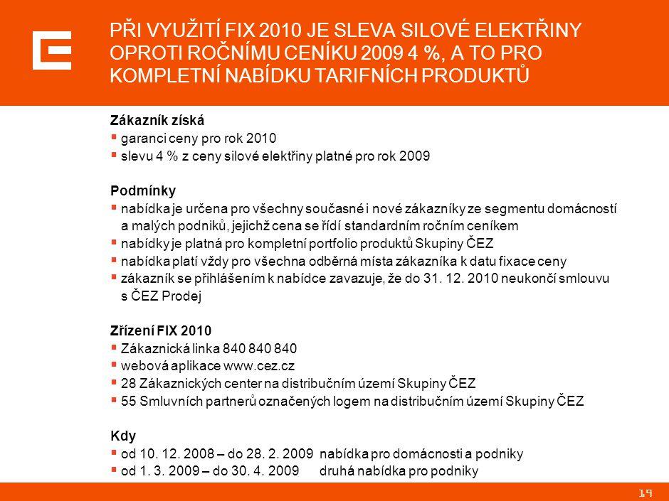 19 PŘI VYUŽITÍ FIX 2010 JE SLEVA SILOVÉ ELEKTŘINY OPROTI ROČNÍMU CENÍKU 2009 4 %, A TO PRO KOMPLETNÍ NABÍDKU TARIFNÍCH PRODUKTŮ Zákazník získá  garanci ceny pro rok 2010  slevu 4 % z ceny silové elektřiny platné pro rok 2009 Podmínky  nabídka je určena pro všechny současné i nové zákazníky ze segmentu domácností a malých podniků, jejichž cena se řídí standardním ročním ceníkem  nabídky je platná pro kompletní portfolio produktů Skupiny ČEZ  nabídka platí vždy pro všechna odběrná místa zákazníka k datu fixace ceny  zákazník se přihlášením k nabídce zavazuje, že do 31.