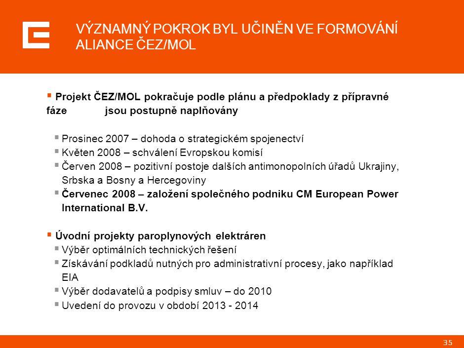 35  Projekt ČEZ/MOL pokračuje podle plánu a předpoklady z přípravné fáze jsou postupně naplňovány  Prosinec 2007 – dohoda o strategickém spojenectví  Květen 2008 – schválení Evropskou komisí  Červen 2008 – pozitivní postoje dalších antimonopolních úřadů Ukrajiny, Srbska a Bosny a Hercegoviny  Červenec 2008 – založení společného podniku CM European Power International B.V.