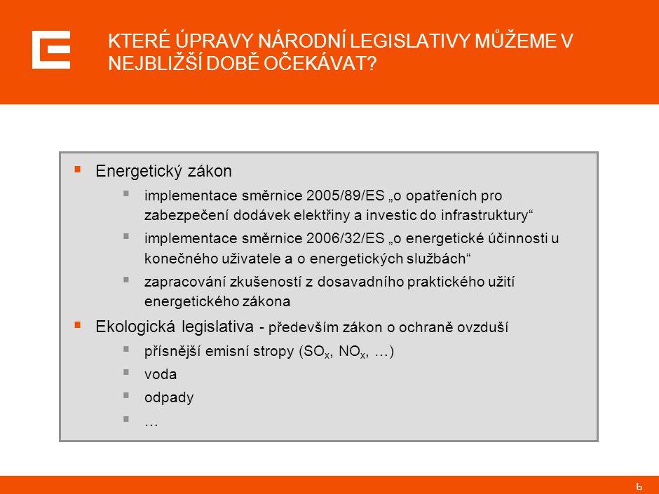 """6  Energetický zákon  implementace směrnice 2005/89/ES """"o opatřeních pro zabezpečení dodávek elektřiny a investic do infrastruktury  implementace směrnice 2006/32/ES """"o energetické účinnosti u konečného uživatele a o energetických službách  zapracování zkušeností z dosavadního praktického užití energetického zákona  Ekologická legislativa - především zákon o ochraně ovzduší  přísnější emisní stropy (SO x, NO x, …)  voda  odpady  … KTERÉ ÚPRAVY NÁRODNÍ LEGISLATIVY MŮŽEME V NEJBLIŽŠÍ DOBĚ OČEKÁVAT"""