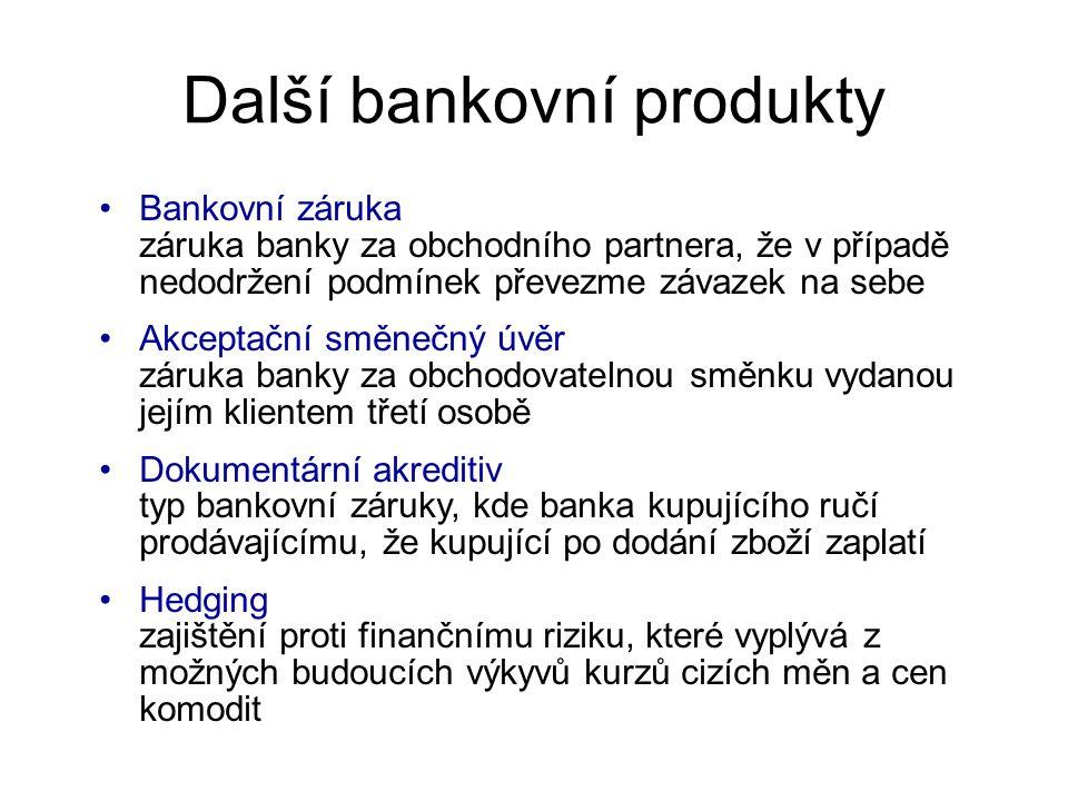Další bankovní produkty Bankovní záruka záruka banky za obchodního partnera, že v případě nedodržení podmínek převezme závazek na sebe Akceptační směnečný úvěr záruka banky za obchodovatelnou směnku vydanou jejím klientem třetí osobě Dokumentární akreditiv typ bankovní záruky, kde banka kupujícího ručí prodávajícímu, že kupující po dodání zboží zaplatí Hedging zajištění proti finančnímu riziku, které vyplývá z možných budoucích výkyvů kurzů cizích měn a cen komodit