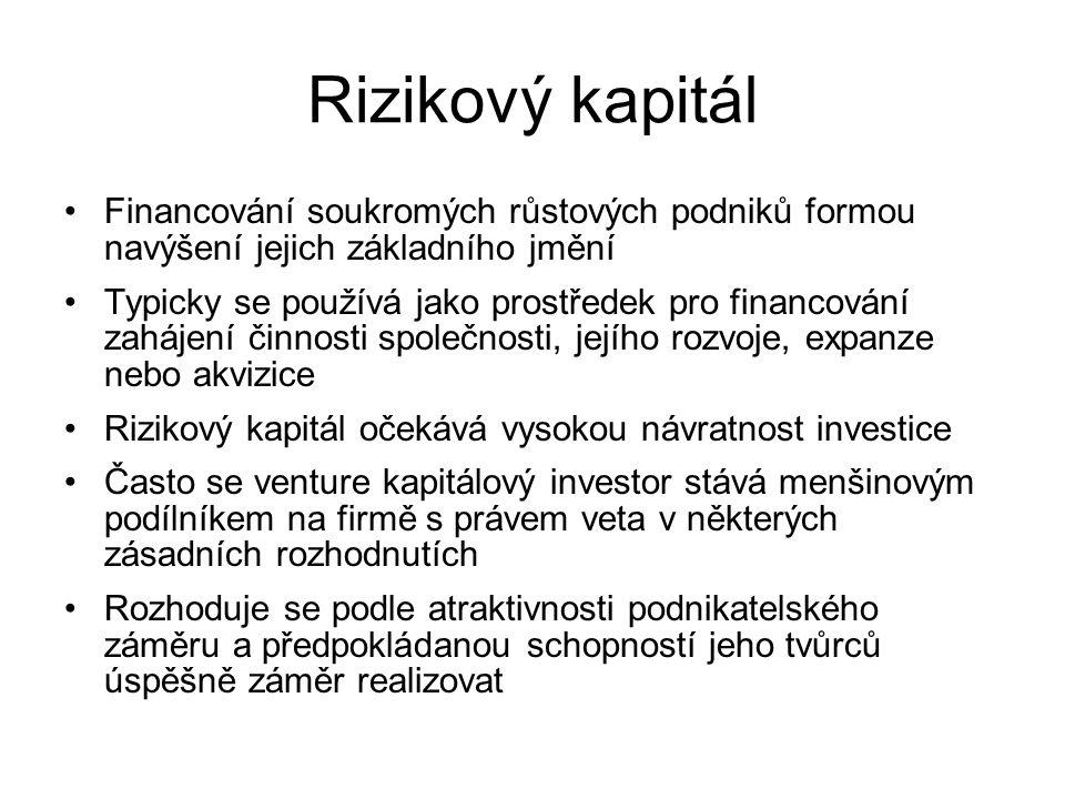 Rizikový kapitál Financování soukromých růstových podniků formou navýšení jejich základního jmění Typicky se používá jako prostředek pro financování zahájení činnosti společnosti, jejího rozvoje, expanze nebo akvizice Rizikový kapitál očekává vysokou návratnost investice Často se venture kapitálový investor stává menšinovým podílníkem na firmě s právem veta v některých zásadních rozhodnutích Rozhoduje se podle atraktivnosti podnikatelského záměru a předpokládanou schopností jeho tvůrců úspěšně záměr realizovat