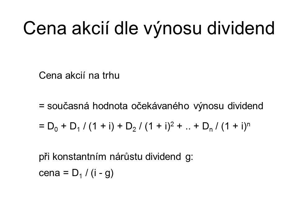 Cena akcií dle výnosu dividend Cena akcií na trhu = současná hodnota očekávaného výnosu dividend = D 0 + D 1 / (1 + i) + D 2 / (1 + i) 2 +..