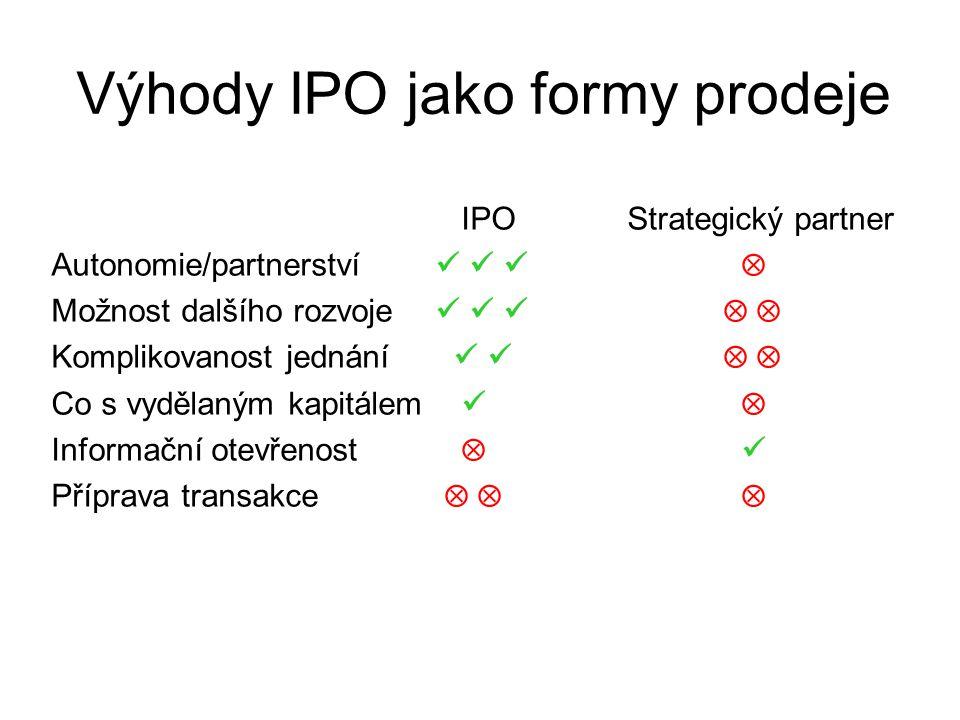 Výhody IPO jako formy prodeje IPOStrategický partner Autonomie/partnerství  Možnost dalšího rozvoje   Komplikovanost jednání   Co s vydělaným kapitálem  Informační otevřenost  Příprava transakce   