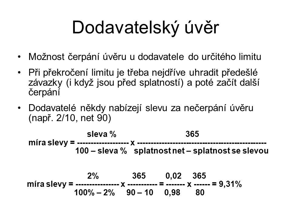 Čistá současná hodnota Představuje vyjádření budoucích příjmů očištěných o náklady v dnešní hodnotě peněz 1Kč za rok ≠ 1Kč dnes NPV = FV n * 1/(1 + i) n - I 0 FV (Future Value): budoucí hodnota Kč NPV(Net Present Value): čistá současná hodnota Kč i (interest): úrok % I 0 (Initial Investment): počáteční výdaje Kč