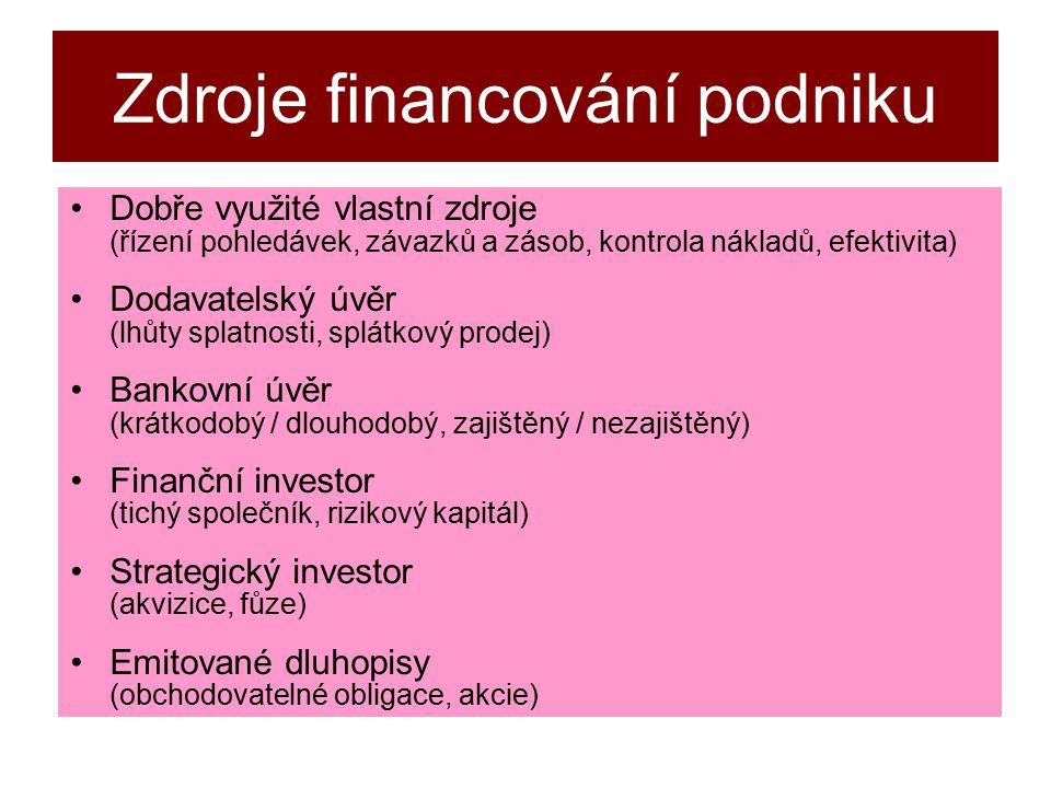 Zdroje financování podniku Dobře využité vlastní zdroje (řízení pohledávek, závazků a zásob, kontrola nákladů, efektivita) Dodavatelský úvěr (lhůty splatnosti, splátkový prodej) Bankovní úvěr (krátkodobý / dlouhodobý, zajištěný / nezajištěný) Finanční investor (tichý společník, rizikový kapitál) Strategický investor (akvizice, fůze) Emitované dluhopisy (obchodovatelné obligace, akcie)