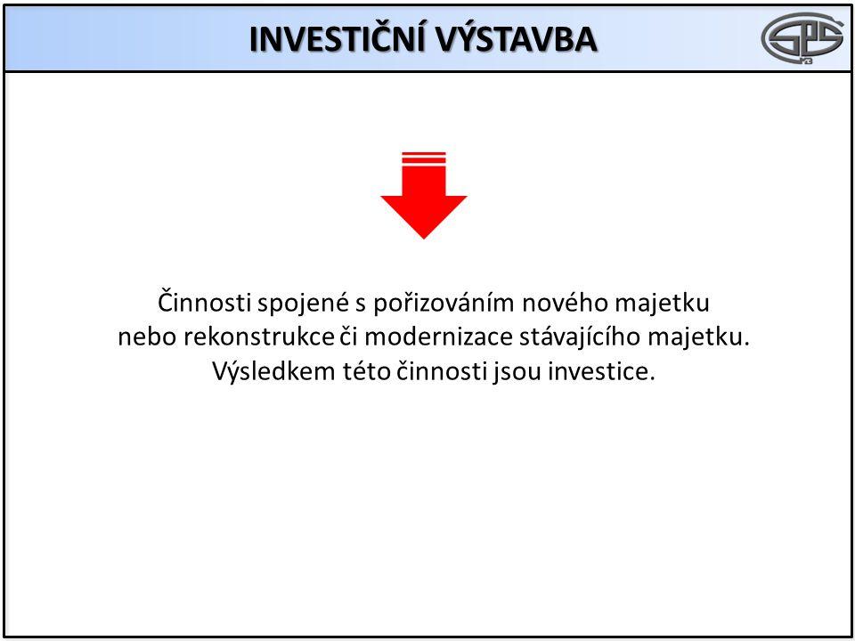 INVESTIČNÍ VÝSTAVBA Činnosti spojené s pořizováním nového majetku nebo rekonstrukce či modernizace stávajícího majetku.