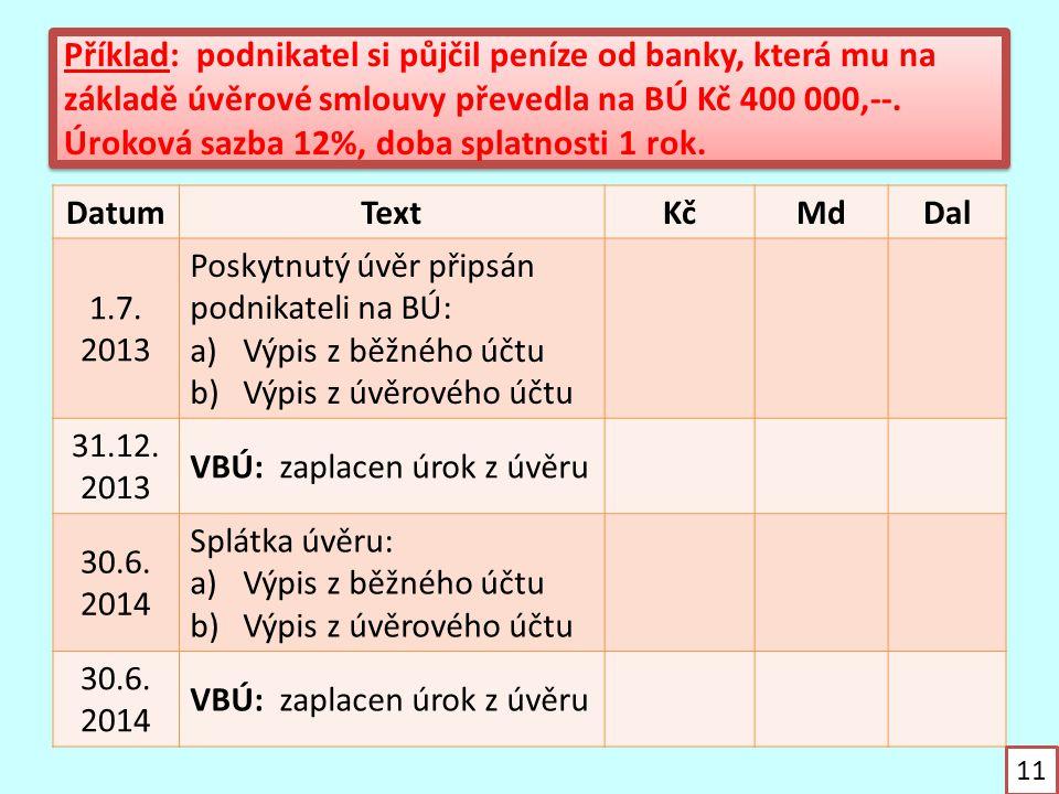 Příklad: podnikatel si půjčil peníze od banky, která mu na základě úvěrové smlouvy převedla na BÚ Kč 400 000,--. Úroková sazba 12%, doba splatnosti 1