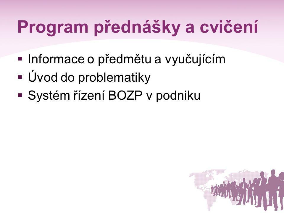 2.2.2 Přístupy k řízení BOZP v podniku  OHSAS 18 001 – systém managementu BOZP  Bezpečný podnik – program pro zavedení integrovaného systému řízení BOZP  ILO – OSH 2001 – směrnice ILO pro systémy řízení BOZP  ČSN EN ISO 9001 – systém managementu jakosti  ČSN EN ISO 14001- systém environmentálnílního managementu  společný princip trvalého zlepšování