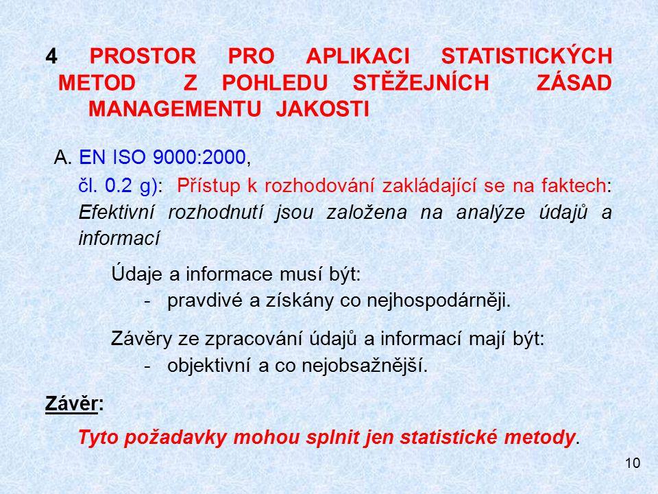 10 4 PROSTOR PRO APLIKACI STATISTICKÝCH METOD Z POHLEDU STĚŽEJNÍCH ZÁSAD MANAGEMENTU JAKOSTI A.