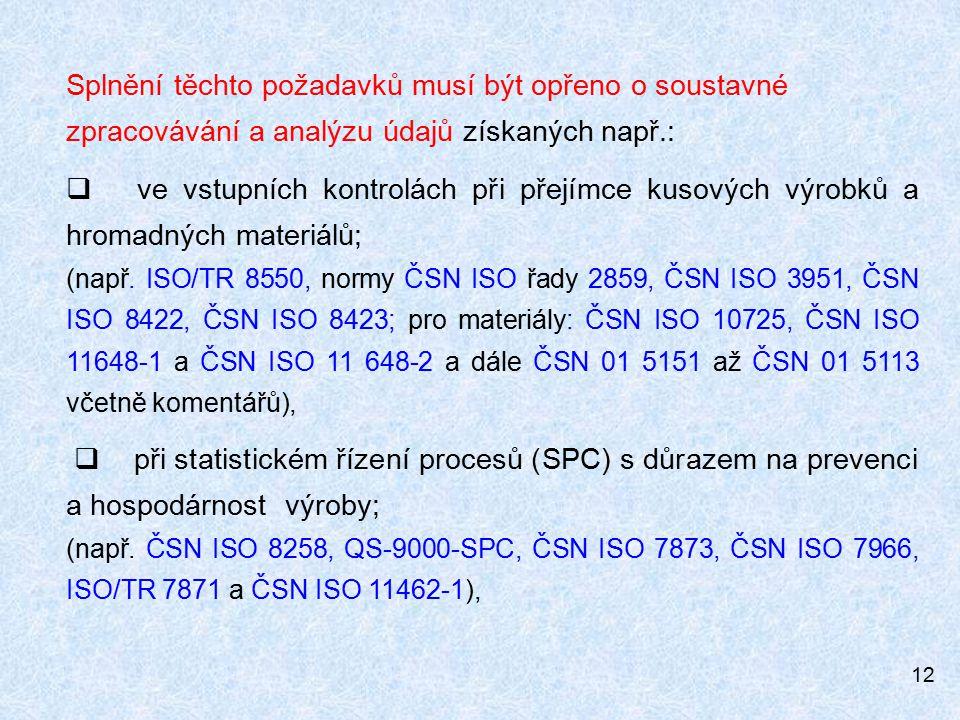 12 Splnění těchto požadavků musí být opřeno o soustavné zpracovávání a analýzu údajů získaných např.:  ve vstupních kontrolách při přejímce kusových výrobků a hromadných materiálů; (např.