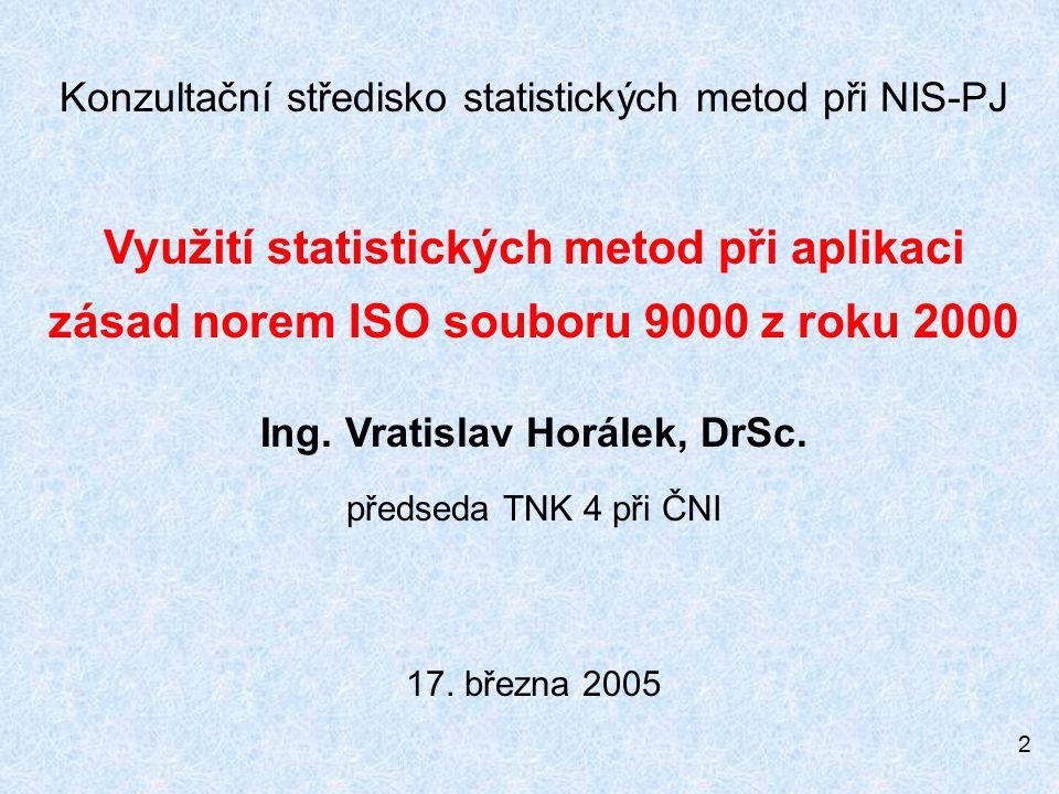 2 Konzultační středisko statistických metod při NIS-PJ Využití statistických metod při aplikaci zásad norem ISO souboru 9000 z roku 2000 Ing.
