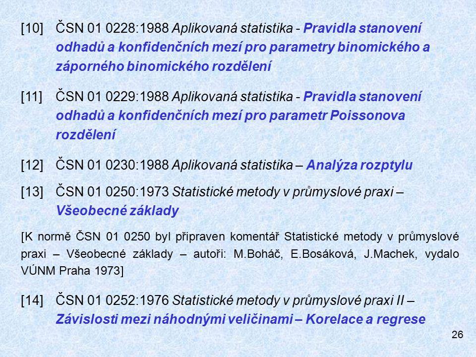 26 [10]ČSN 01 0228:1988 Aplikovaná statistika - Pravidla stanovení odhadů a konfidenčních mezí pro parametry binomického a záporného binomického rozdělení [11]ČSN 01 0229:1988 Aplikovaná statistika - Pravidla stanovení odhadů a konfidenčních mezí pro parametr Poissonova rozdělení [12]ČSN 01 0230:1988 Aplikovaná statistika – Analýza rozptylu [13]ČSN 01 0250:1973 Statistické metody v průmyslové praxi – Všeobecné základy  K normě ČSN 01 0250 byl připraven komentář Statistické metody v průmyslové praxi – Všeobecné základy – autoři: M.Boháč, E.Bosáková, J.Machek, vydalo VÚNM Praha 1973  [14]ČSN 01 0252:1976 Statistické metody v průmyslové praxi II – Závislosti mezi náhodnými veličinami – Korelace a regrese
