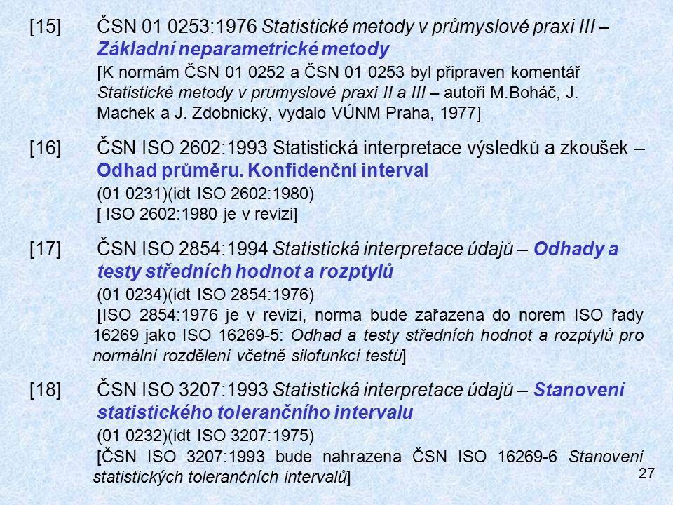27 [15]ČSN 01 0253:1976 Statistické metody v průmyslové praxi III – Základní neparametrické metody  K normám ČSN 01 0252 a ČSN 01 0253 byl připraven komentář Statistické metody v průmyslové praxi II a III – autoři M.Boháč, J.
