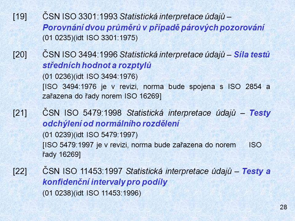 28 [19]ČSN ISO 3301:1993 Statistická interpretace údajů – Porovnání dvou průměrů v případě párových pozorování (01 0235)(idt ISO 3301:1975) [20]ČSN ISO 3494:1996 Statistická interpretace údajů – Síla testů středních hodnot a rozptylů (01 0236)(idt ISO 3494:1976)  ISO 3494:1976 je v revizi, norma bude spojena s ISO 2854 a zařazena do řady norem ISO 16269  [21]ČSN ISO 5479:1998 Statistická interpretace údajů – Testy odchýlení od normálního rozdělení (01 0239)(idt ISO 5479:1997)  ISO 5479:1997 je v revizi, norma bude zařazena do norem ISO řady 16269] [22]ČSN ISO 11453:1997 Statistická interpretace údajů – Testy a konfidenční intervaly pro podíly (01 0238)(idt ISO 11453:1996)